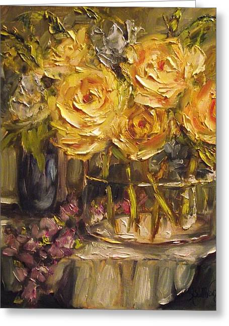 Glass Vase Greeting Cards - Yellow Fever by Alabama Artist Angela Sullivan Greeting Card by Angela Sullivan
