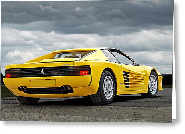 1992 Greeting Cards - Yellow Fever - Ferrari Testarossa Greeting Card by Gill Billington