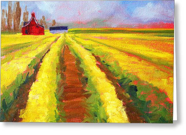 Wa Paintings Greeting Cards - Yellow Field Landscape Greeting Card by Nancy Merkle