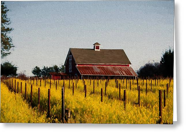 Sonoma County Mixed Media Greeting Cards - Yellow Fields Greeting Card by John K Woodruff