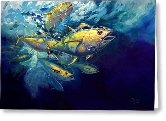 Expressionist Greeting Cards - Yellow fins Greeting Card by Mike Savlen