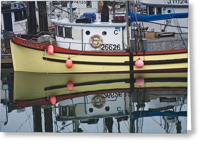 Water Vessels Greeting Cards - Yellow Fishing Boat in a Harbor on Vancouver Island Greeting Card by Randall Nyhof