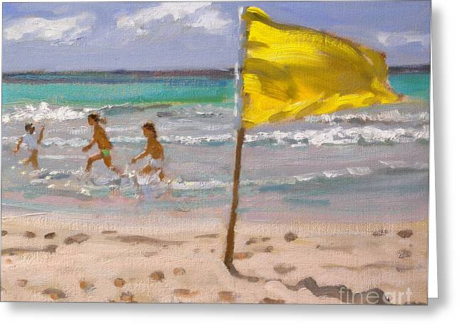 Kids Swimming At Beach Greeting Cards - Yellow Flag  Barbados Greeting Card by Andrew Macara