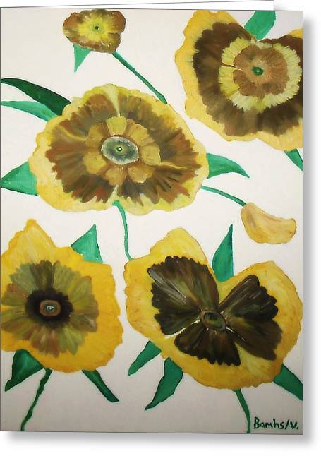 Bamhs Blair Greeting Cards - Yellow Floral Burst Greeting Card by Bamhs Blair