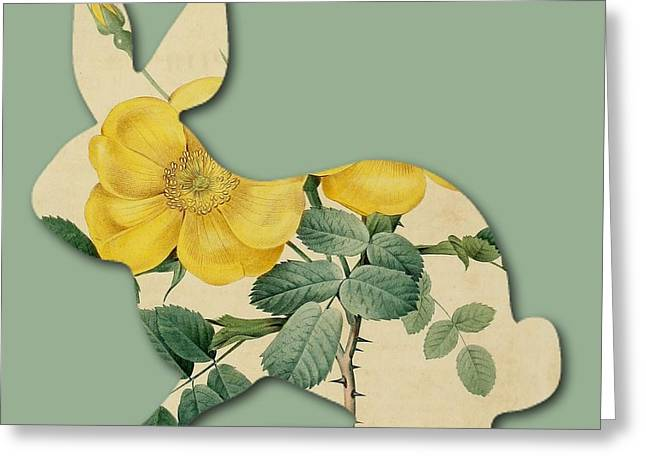 Becky Digital Art Greeting Cards - Yellow Flower Bunny Greeting Card by Becky Hayes