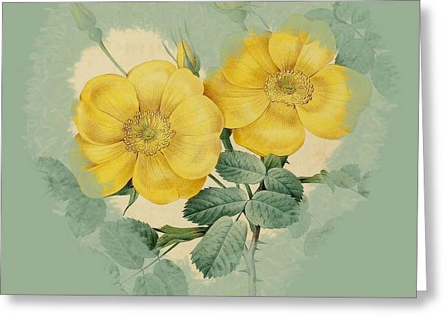 Becky Digital Art Greeting Cards - Yellow Flower Heart-2 Greeting Card by Becky Hayes