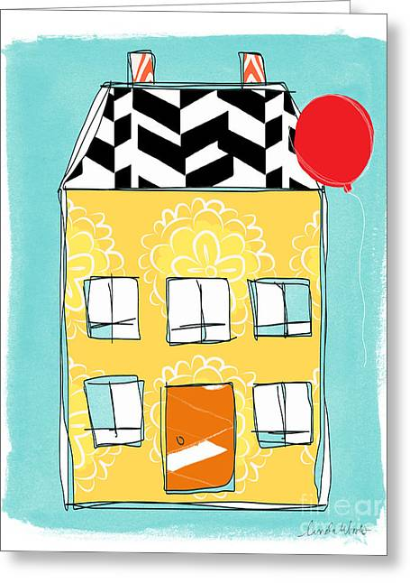 Balloon Flower Greeting Cards - Yellow Flower House Greeting Card by Linda Woods