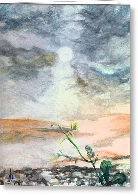 Iraq Paintings Greeting Cards - Yellow Flower Greeting Card by Kd Neeley
