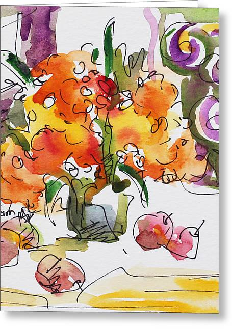 Becky Kim Mixed Media Greeting Cards - Yellow Flowers and Apples Greeting Card by Becky Kim