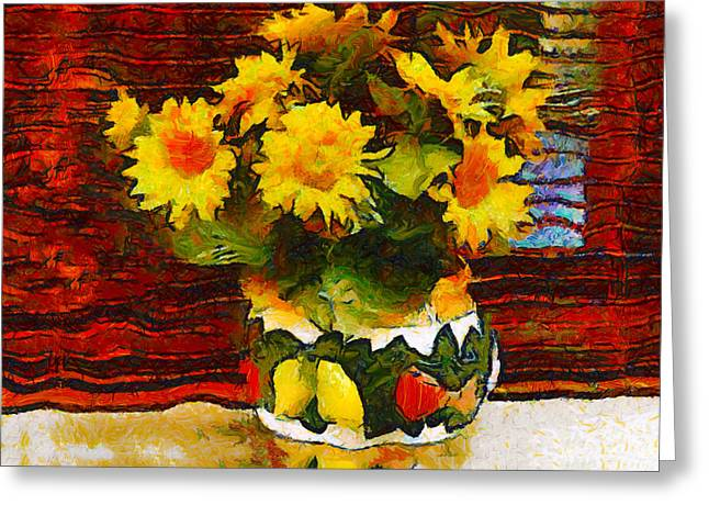 Van Gogh Style Photographs Greeting Cards - Yellow Flowers in a Porcelain Vase Greeting Card by Bishopston Fine Art