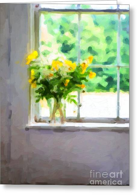 Yellow Flowers In The Window Greeting Card by Diane Diederich