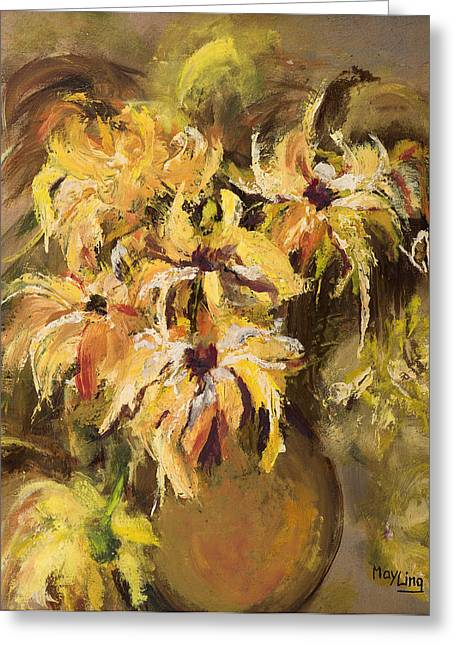 May Ling Yong Greeting Cards - Yellow Flowers in Vase Greeting Card by May Ling Yong