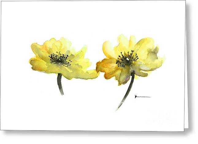 Artowrk Greeting Cards - Yellow flowers painting watercolor art print Greeting Card by Joanna Szmerdt