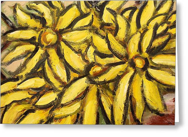 Tablets Paintings Greeting Cards - Yellow Flowers Greeting Card by Patrick J Murphy