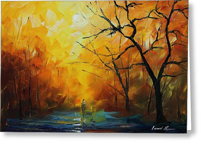Biographies Greeting Cards - Yellow Fog 2 - Palette Knife Oil Painting On Canvas By Leonid Afremov Greeting Card by Leonid Afremov