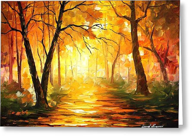 Park Scene Paintings Greeting Cards - Yellow Fog 3 Greeting Card by Leonid Afremov