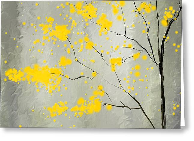 Lemon Paintings Greeting Cards - Yellow Foliage Impressionist Greeting Card by Lourry Legarde