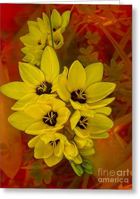 Stamen Digital Art Greeting Cards - Yellow Freesias on Red   Greeting Card by Kaye Menner