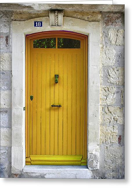 French Doors Photographs Greeting Cards - Yellow French Door Greeting Card by Nomad Art And  Design