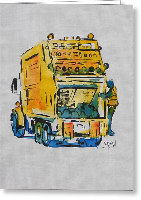 At Work Drawings Greeting Cards - Yellow Garbage Truck Greeting Card by Larry Lerew