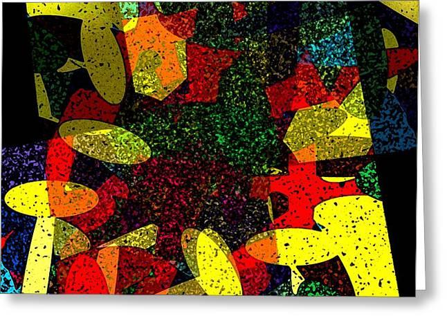 Yellow Geometric Art Greeting Card by Mario  Perez
