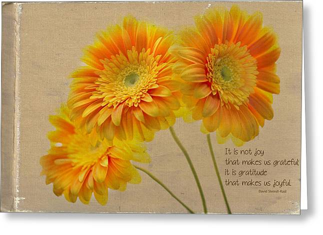 Gerber Greeting Cards - Yellow Gerber with Quote Greeting Card by Rebecca Cozart