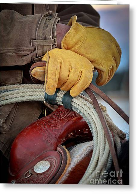 Folks Humans Greeting Cards - Yellow Gloves Greeting Card by Inge Johnsson