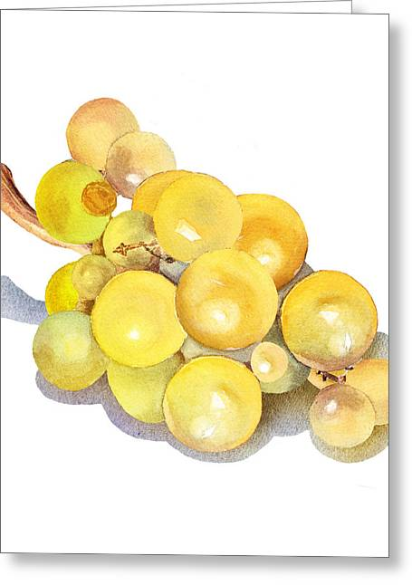 Grape Vines Paintings Greeting Cards - Yellow Grape Greeting Card by Irina Sztukowski