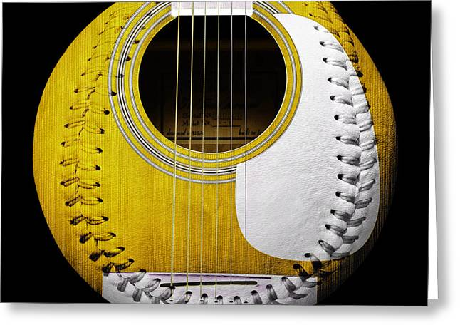 Take-out Digital Art Greeting Cards - Yellow Guitar Baseball White Laces Square Greeting Card by Andee Design