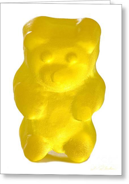 Gummi Candy Greeting Cards - Yellow Gummy Bear Greeting Card by Iris Richardson