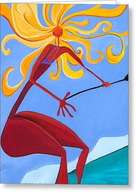 Surfer Art Greeting Cards - Yellow Hair Greeting Card by Beth Cooper