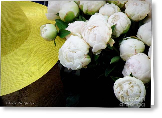 Lainie Wrightson Greeting Cards - Yellow Hat with Peonies Greeting Card by Lainie Wrightson