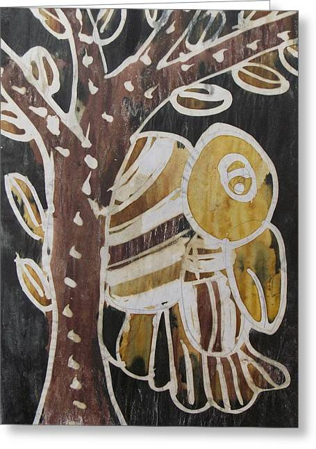 Yellow Head Brown Owl Bird On The Tree Greeting Card by Okunade Olubayo