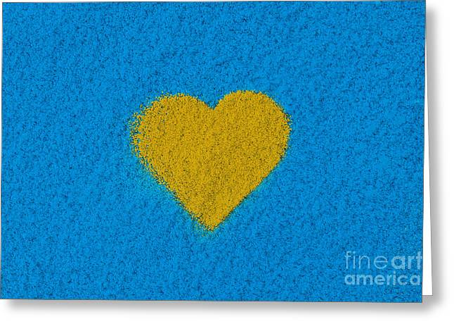 Coloured Greeting Cards - Yellow Heart Greeting Card by Tim Gainey