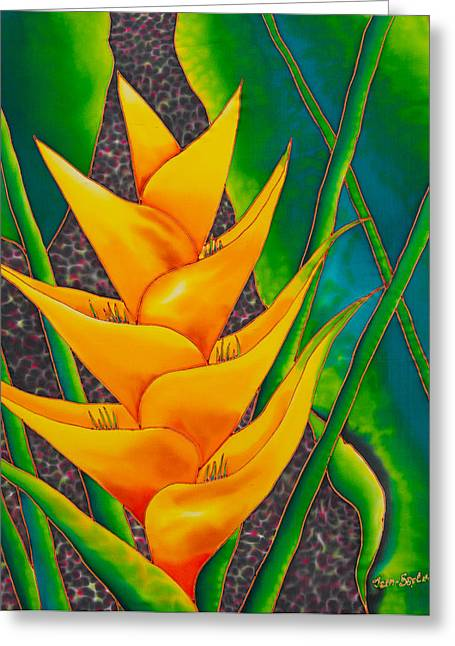 Hand Tapestries - Textiles Greeting Cards - Yellow Heliconia Greeting Card by Daniel Jean-Baptiste