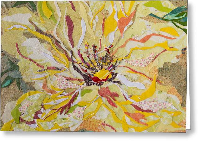 Kat Mixed Media Greeting Cards - Yellow Hibiscus Collage Greeting Card by Kat Ebert