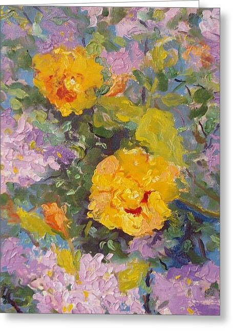 Orangey Greeting Cards - Yellow Hibiscus Greeting Card by Elinor Fletcher