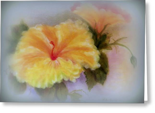 Pinks And Purple Petals Greeting Cards - Yellow Hibiscus Greeting Card by Kay Novy