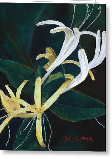 Vine Leaves Pastels Greeting Cards - Yellow Honeysuckle Greeting Card by Angela Bruskotter