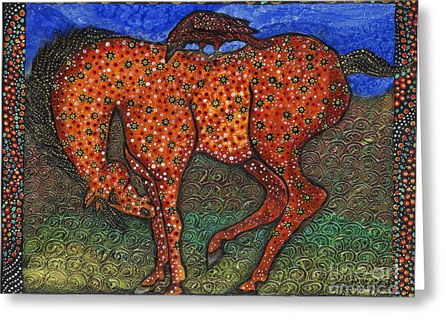 Cole Paintings Greeting Cards - Yellow Horse Red Raven Greeting Card by Melissa Cole