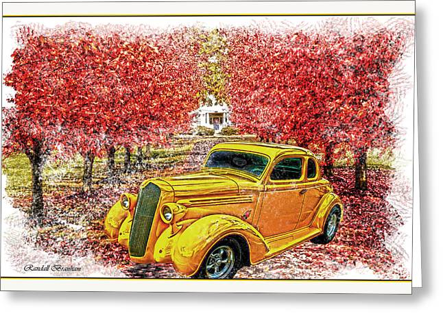 Randall Branham Greeting Cards - Yellow Hot Rod In Red Maple Lane Greeting Card by Randall Branham