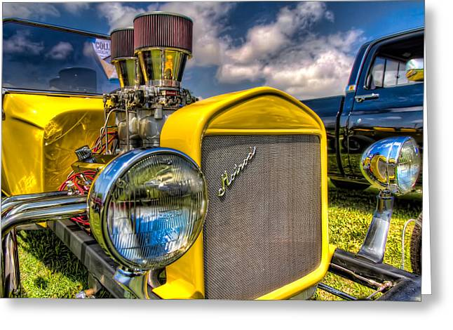 Car Images Greeting Cards - Yellow Hotrod Greeting Card by Tim Stanley