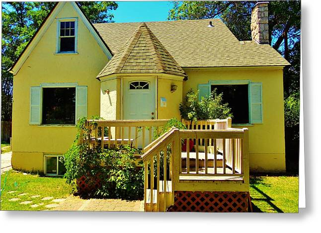 Yellow House 6 Greeting Card by Larry Campbell