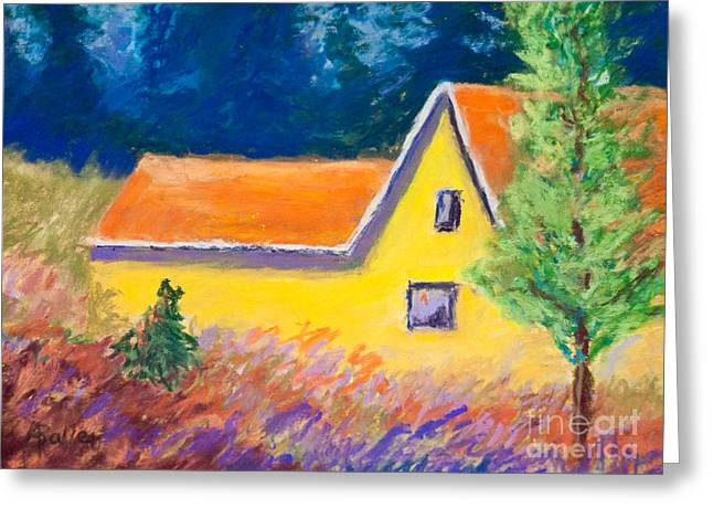 Planet Factory Greeting Cards - Yellow House Greeting Card by Arlene Baller