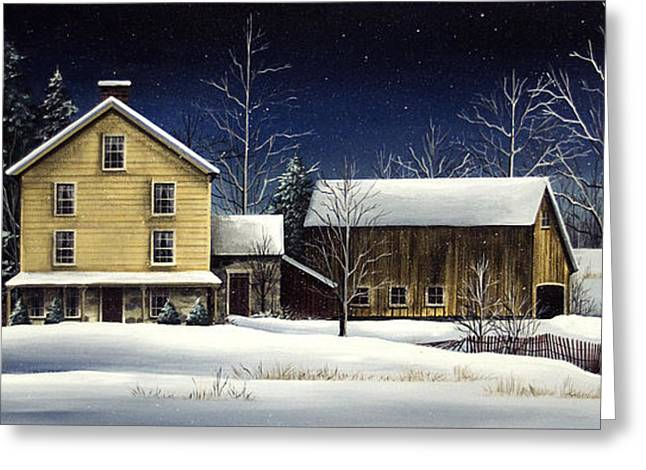 New England Snow Scene Greeting Cards - Yellow House Greeting Card by Debbi Wetzel