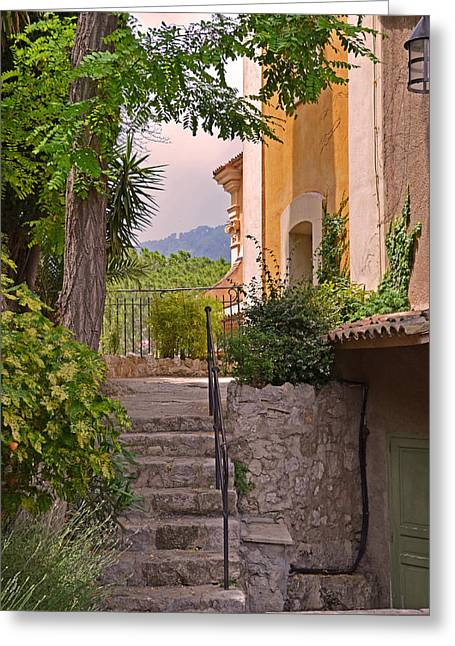 South Of France Greeting Cards - Yellow House in Eze France Greeting Card by Joanne Grant