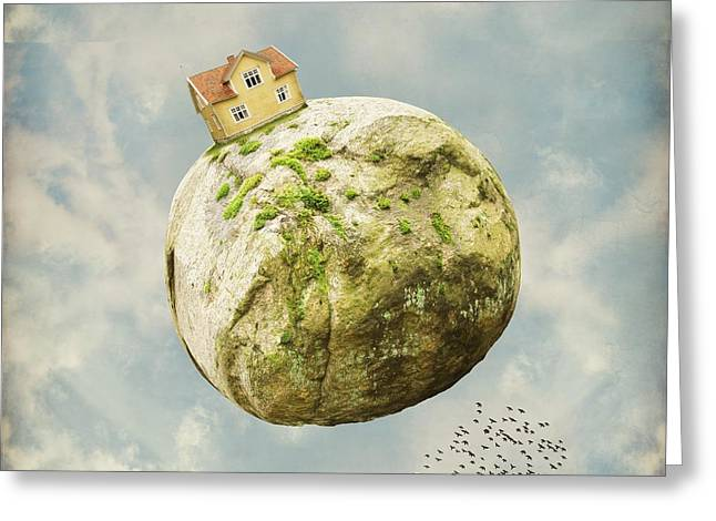 Moss Green Greeting Cards - Yellow house in the sky Greeting Card by Sonya Kanelstrand