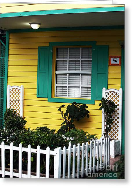 White Pickett Fences Greeting Cards - Yellow House Greeting Card by John Rizzuto
