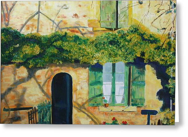 Beaujolais Greeting Cards - Yellow House with Ivy Greeting Card by Barbara Lynn Dunn