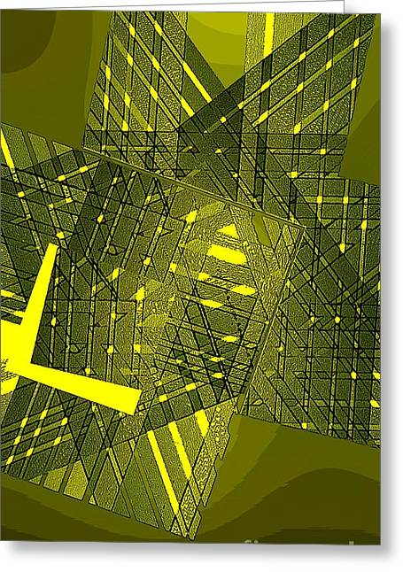 Geometric Art Greeting Cards - Yellow in Abstract Geometry Greeting Card by Mario  Perez